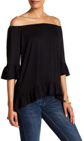 Gibson Rib Knit Ruffle Trim Shirt