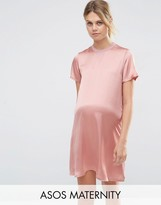 Asos T-Shirt Dress With Satin Front