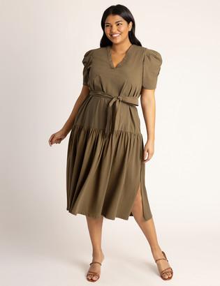 ELOQUII Puff Sleeve Midi Dress