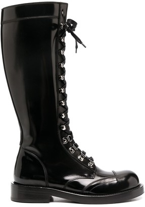 Dolce & Gabbana Knee-High Lace-Up Combat Boots