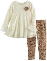 Nannette Toddler Girl Lace Swing Top & Leopard Leggings Set