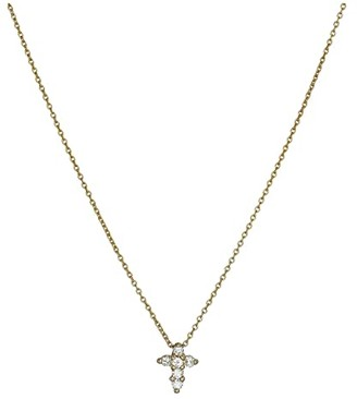 Roberto Coin Tiny Treasures Baby Cross Pendant With Diamonds (Yellow) Necklace