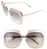 Linda Farrow Women's 62Mm 22 Karat Gold Trim Oversize Sunglasses - Black/ Yellow Gold/ Grey