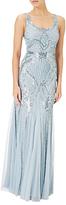 Adrianna Papell Petite Sleeveless Beaded Gown, Blue Heather