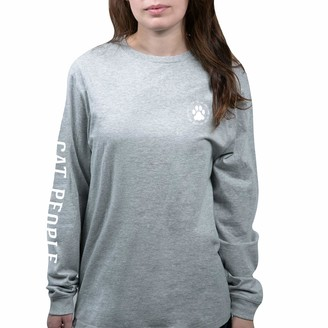 Pavilion Gift Company Pavilion - Life is Better with A Cat - Gray Medium Unisex Adult Long Sleeve Shirt