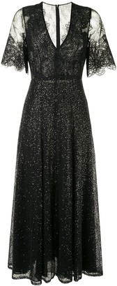 Costarellos Sequin Embellished Embroidered Panel Dress