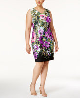 Connected Plus Size Printed Floral Sheath Dress
