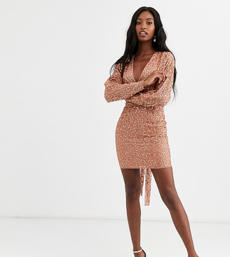 Asos Tall DESIGN Tall mini dress with batwing sleeve and wrap waist in scatter sequin-Orange