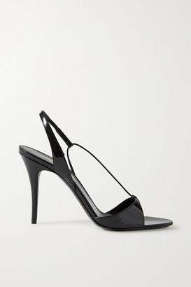 Saint Laurent Anouk Patent-leather Slingback Sandals - Black