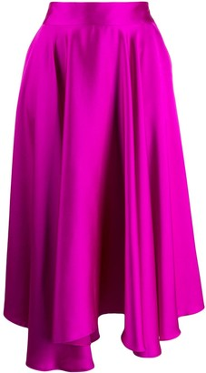 Styland ruffle asymmetric midi skirt
