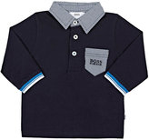 HUGO BOSS CONTRAST-COLLAR COTTON POLO SHIRT