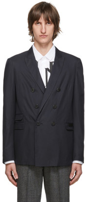 Neil Barrett Navy Skinny Fit Double-Breasted Blazer
