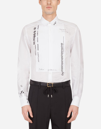Dolce & Gabbana Cotton Gold-Fit Tuxedo Shirt With Lettering Print