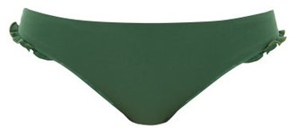Casa Raki - Ruffle Bikini Briefs - Womens - Green White