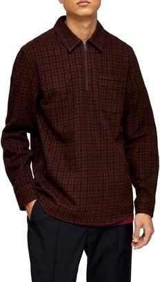 Topman Check Print Quarter Zip Shirt