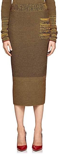 Victoria Beckham Women's Compact Knit Cotton-Blend Pencil Skirt - Amber-Navy