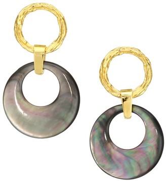 Lizzie Fortunato 18K Goldplated & Shell Disc Double Hoop Clip-On Earrings