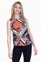 Select Fashion Fashion Womens Orange Geo Floral Zip Back Vest - size 6