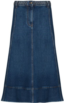 Valentino Braided-Waist Denim Midi Skirt