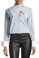Palmer Harding palmer//harding Bow-Front Striped Long-Sleeve Poplin Shirt