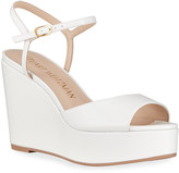 Stuart Weitzman Palmina Cork Wedge Peep-Toe Sandals