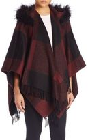 Burberry Buffalo Check Hooded Wool, Cashmere & Fox Fur Poncho