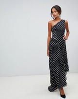 Keepsake Limits one shoulder gown in polkadot