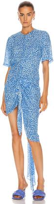 CARMEN MARCH Ruched Asymmetrical Dress in Blue   FWRD