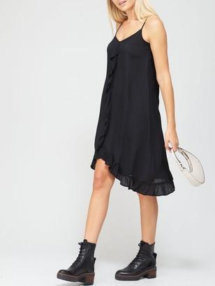River Island Ruffle Trim Slip Dress - Black