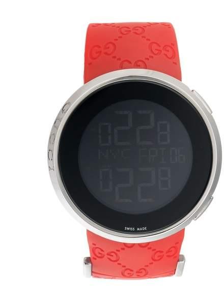 Gucci 114 Icon YA114202 Polished Steel Digital Red Strap 44mm Mens Watch