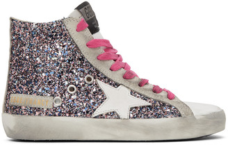 Golden Goose Multicolor and Grey Glitter Francy Sneakers