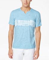 INC International Concepts Men's Brushstroke Stripe-Print Split-Neck T-Shirt, Created for Macy's