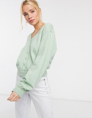 And other stories & organic cotton lounge cardigan in light green