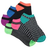 Famous Footwear 6 Pack Women's Neon Zig Stripe No Show Socks