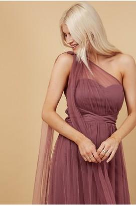 Little Mistress Bridesmaid Karter Mauve Bow Detail One-Shoulder Maxi Dress