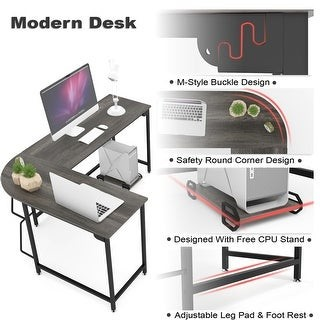Overstock L-shaped Computer Desk Wood Steel Laptop Table Writing Workstation Study Home Office,Multiple Colors Multiple Size