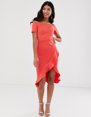 True Violet bardot midi dress with ruffle skirt