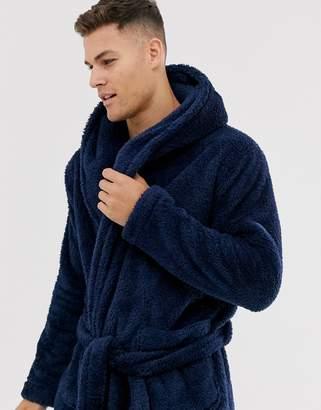 Asos Design DESIGN lounge fleece robe in navy