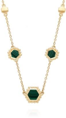 Gemondo Malachite Slice Necklace In Gold Plated Silver