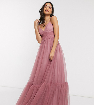 ASOS DESIGN Petite exclusive cami spot tulle mesh pep hem maxi dress in rose