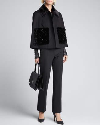 Valentino Mink-Fur Trim Double-Felt Cape Coat