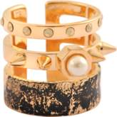 Maria Francesca Pepe Distressed Spikes Pearls Ring