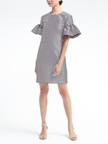 Banana Republic Stripe Ruffle-Sleeve Shift Dress