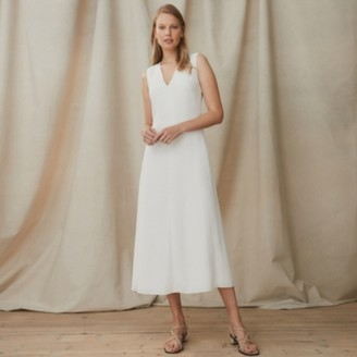 The White Company A-Line Twist-Neck Dress, Ivory, 6