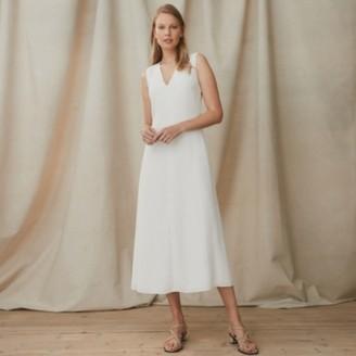 The White Company A-Line Twist-Neck Dress, Ivory, 8