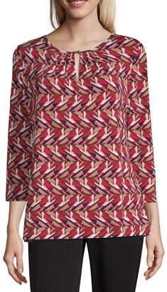 Liz Claiborne Womens Keyhole Neck 3/4 Sleeve Blouse