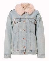 Alexander Wang Shearling Lamb Oversized Denim Jacket
