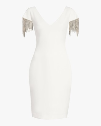 Badgley Mischka Beaded-Sleeve V Neck Dress