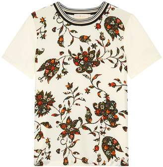 Tory Burch Printed Silk And Cotton T-shirt