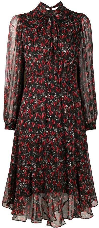 Pinko Floral Print Bow Tie Dress